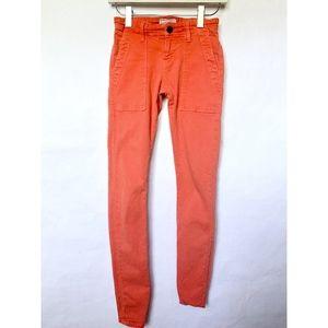 Current Elliott Orange Salmon Cargo Skinny Jeans